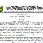 Pengumuman Hasil Sanggah Seleksi Administrasi CPNS Pemerintah Kabupaten Bengkulu Selatan Tahun Anggaran 2019